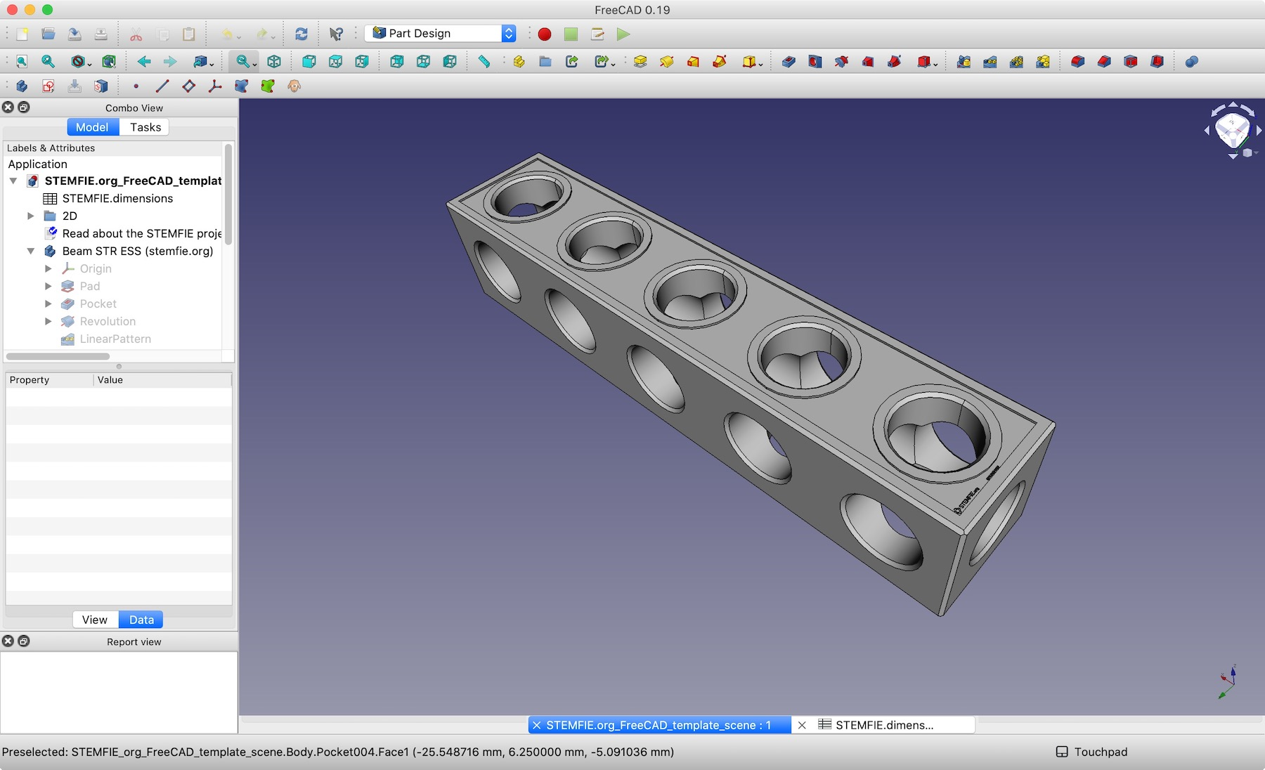 STEMFIE.org FreeCAD template scene screenshot